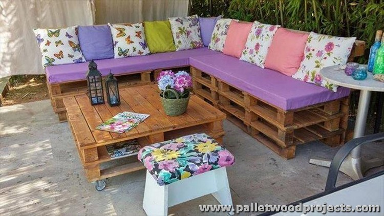 Pallet Wood Sectional Couch