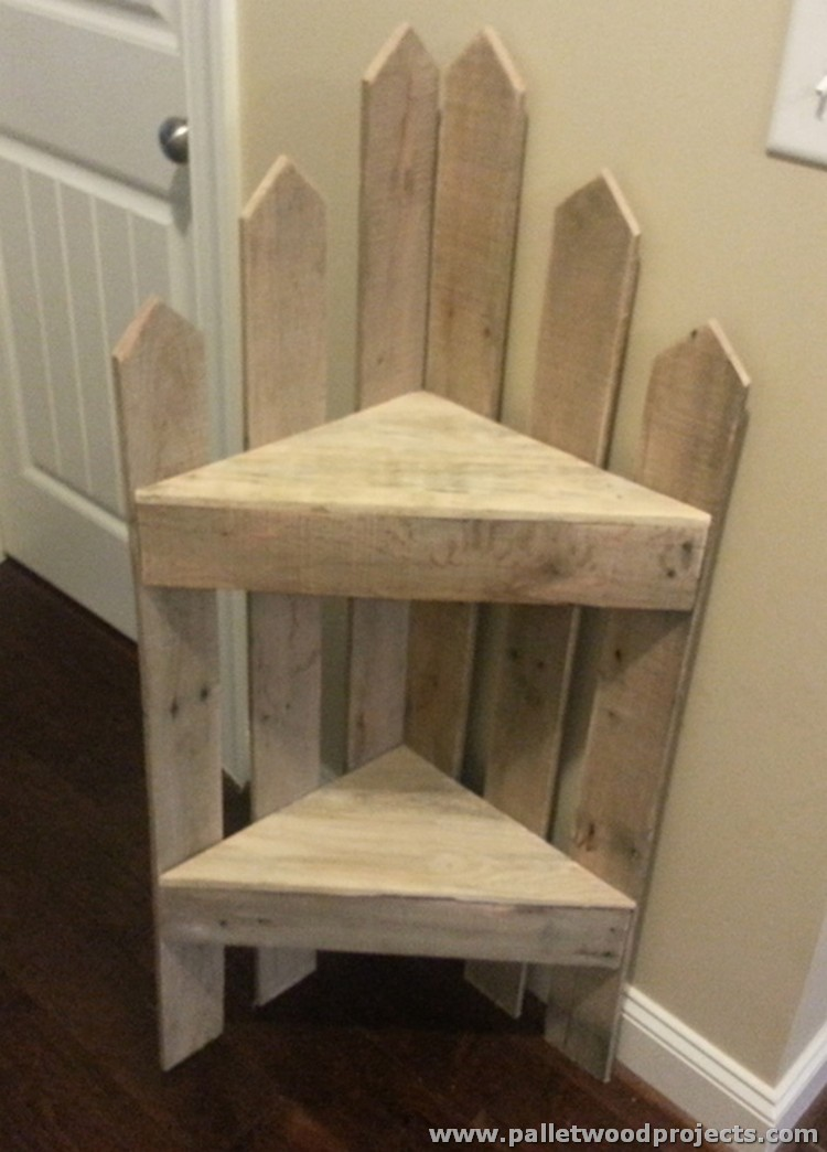 Recycled Wooden Pallet Corner Shelves