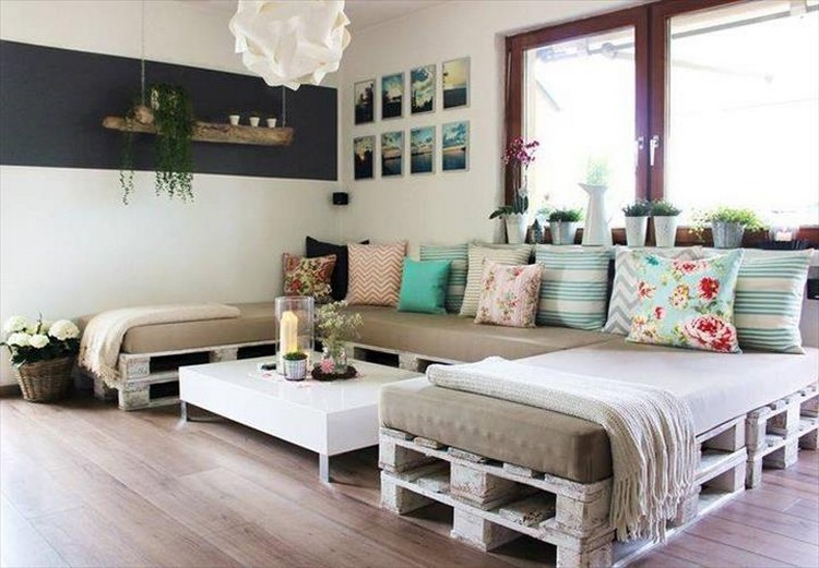 U Shaped Pallet Sofa with Foam Cushions
