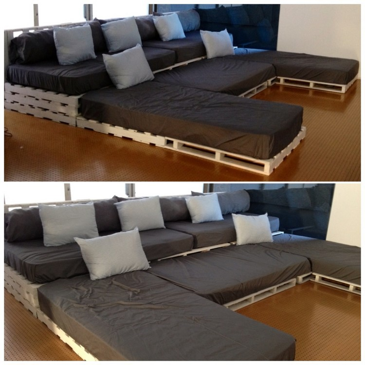 U shaped pallet sofa ideas pallet wood projects for Sofas grandes modernos