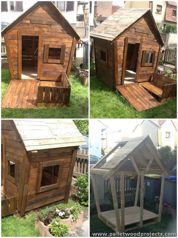 Kids have fun with pallet playhouse pallet wood projects for Wood pallet fort