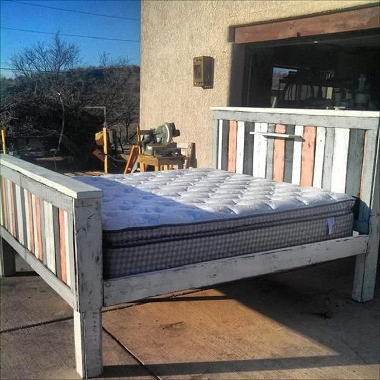 Pallet Bed with Headboard and Footboard