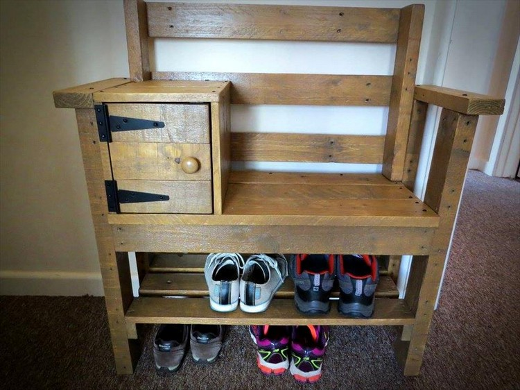 Pallet Bench with Shoe Rack