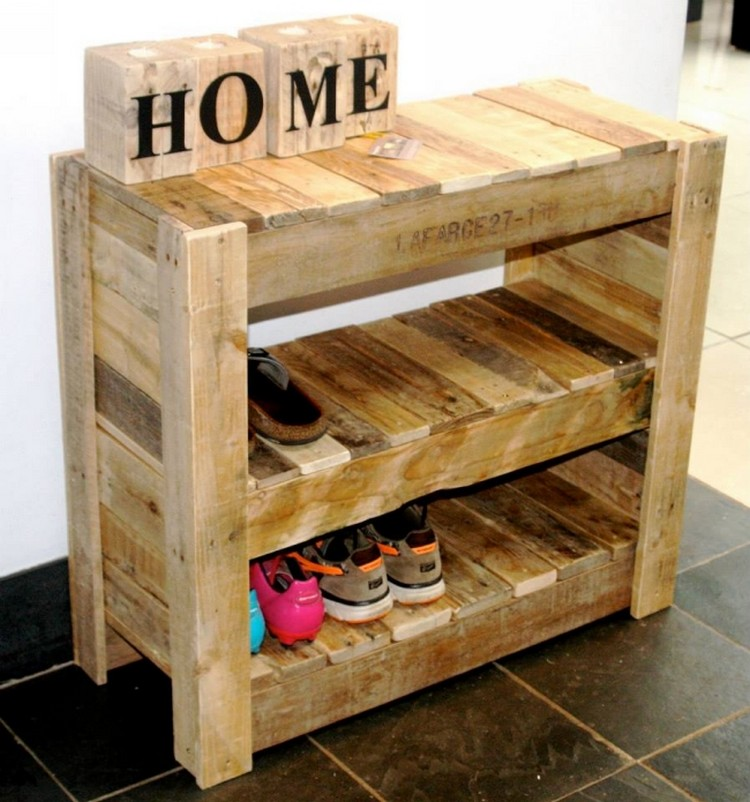 Wooden pallet shoe rack ideas pallet wood projects for Shoe rack made from pallets