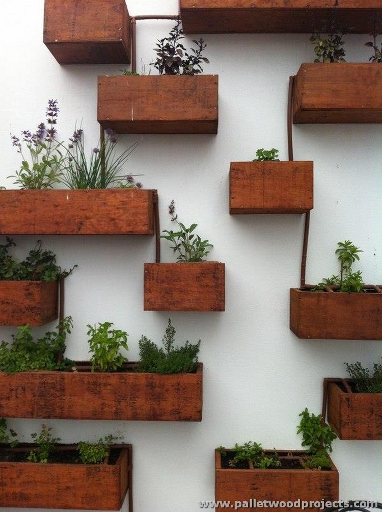 Pallet Wall Planter Boxes