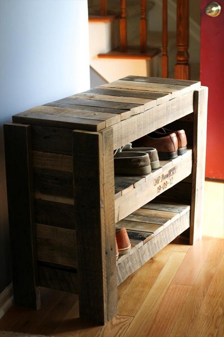 wooden pallet shoe rack ideas pallet wood projects. Black Bedroom Furniture Sets. Home Design Ideas
