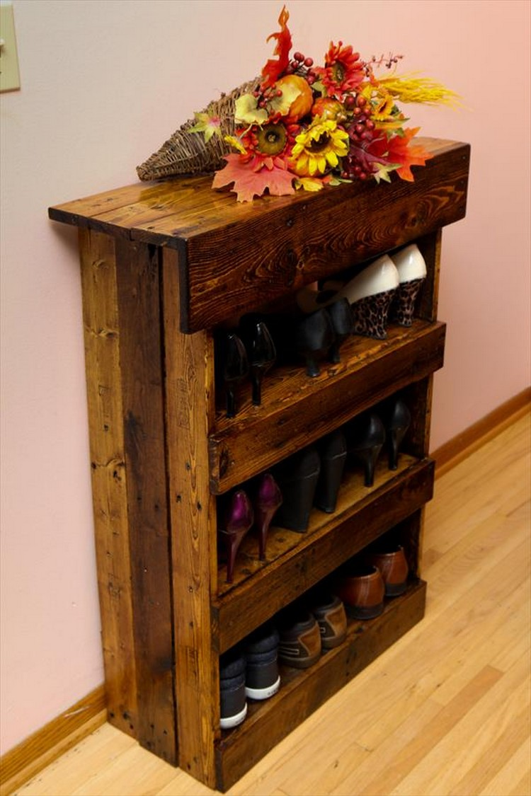 Wooden Shoe Cabinet ~ Wooden pallet shoe rack ideas wood projects