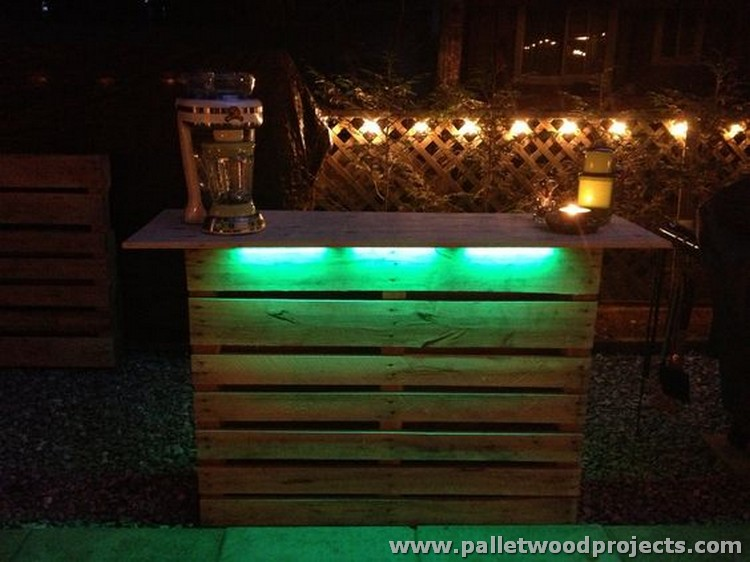 recycled pallet bars with lights pallet wood projects