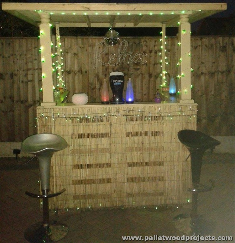 Recycled Pallet Bars With Lights Wood Projects