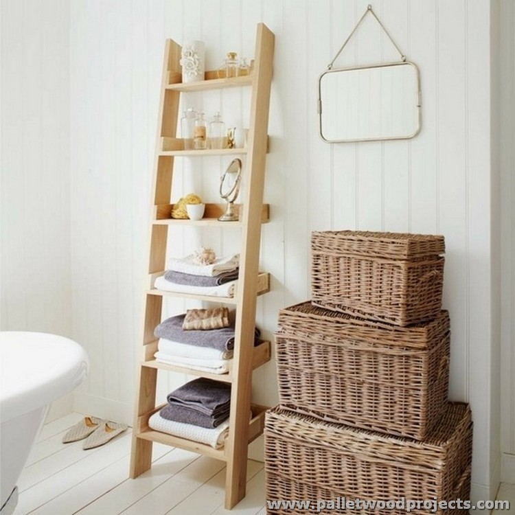 Pallet Bathroom Ladder Shelf
