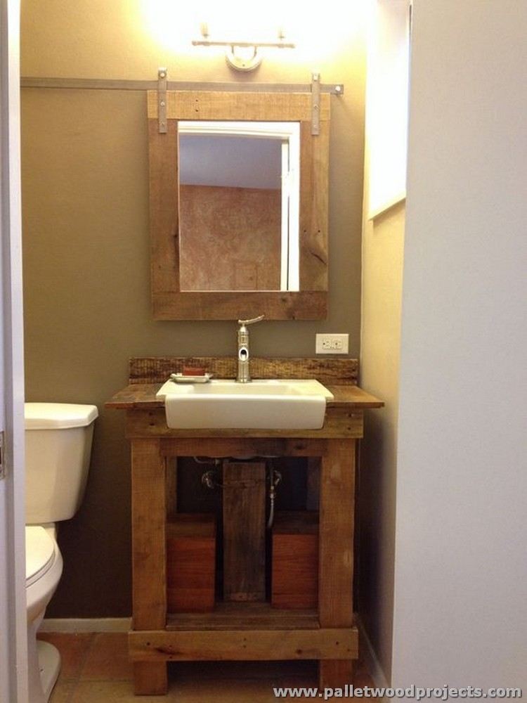 Pallet projects for bathroom pallet wood projects for Cool cheap bathroom ideas