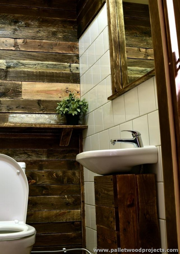 Pallet projects for bathroom pallet wood projects for Wood bathroom wall decor