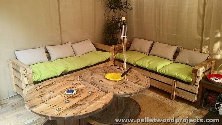 Pallet and Cable Spool Sitting Furniture