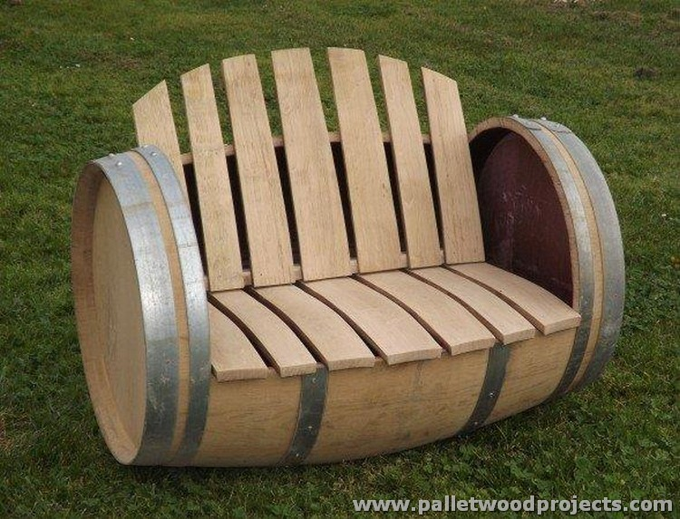 Barrel Drum and Pallets Garden Bench