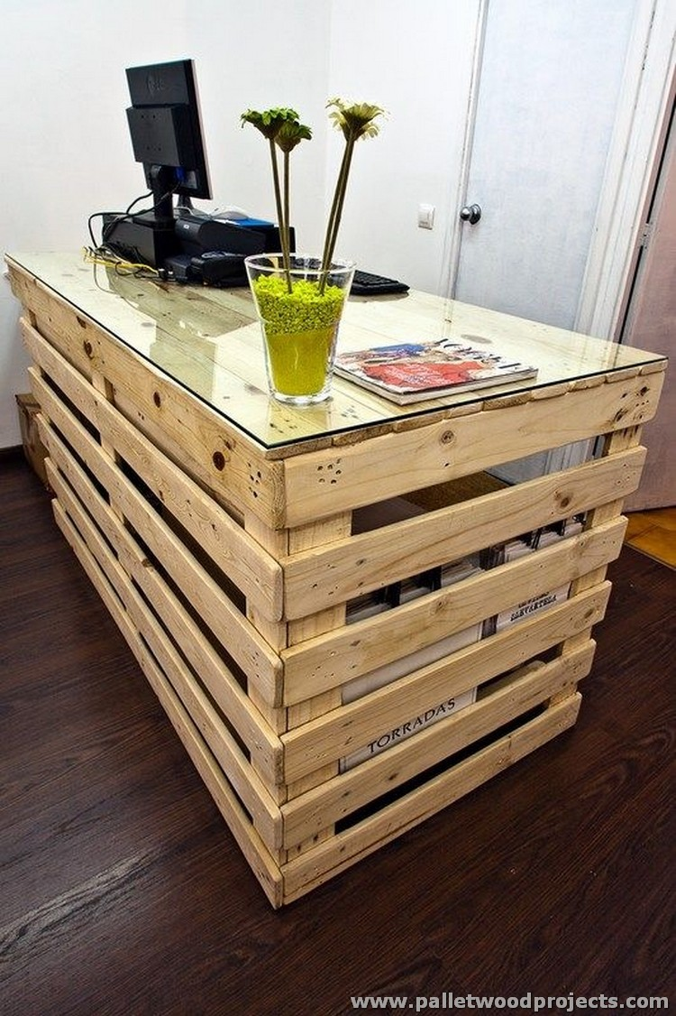 Pallet Desk with Glass Top