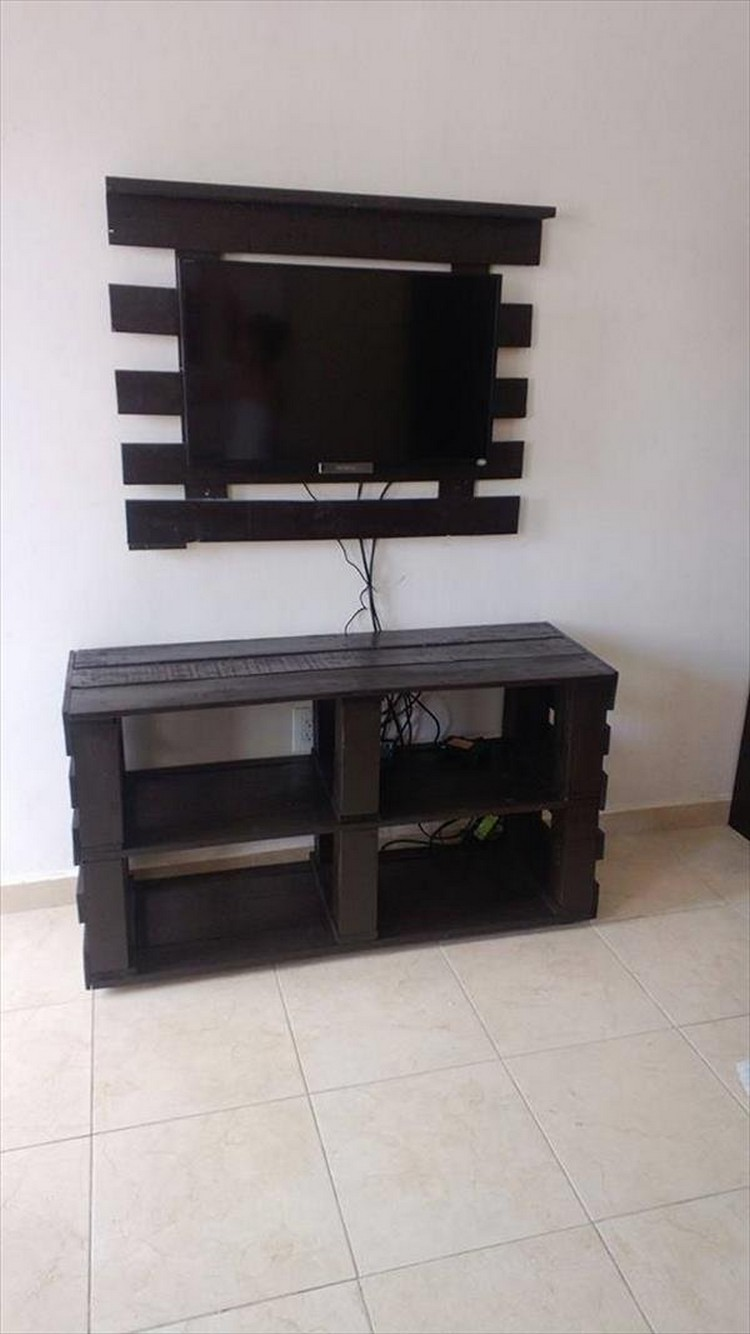 Pallet Media Console Tables Tv Stands Pallet Wood Projects