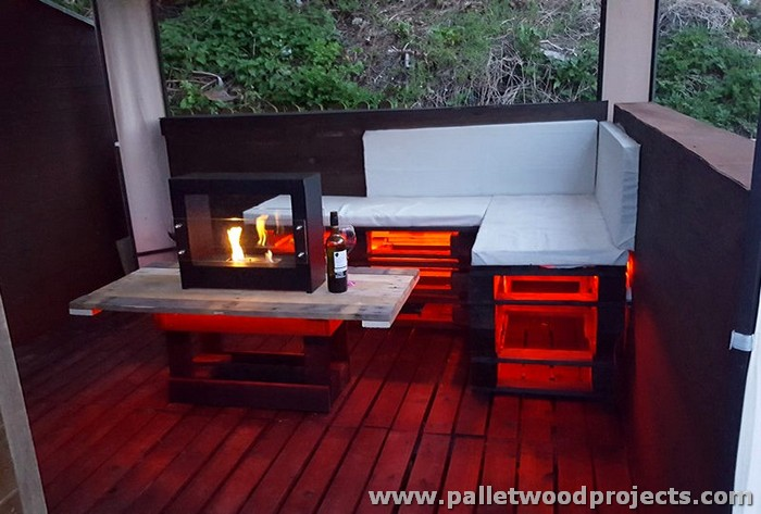 Pallet Under Gazebo Pallet Deck and Sofa Set