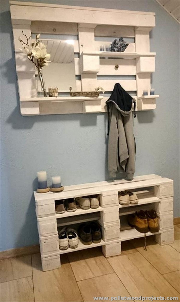 Pallet Wall Hanging Coat Rack with Shoe Rack