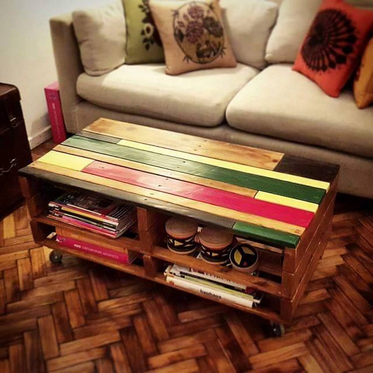 Colorful Pallet Table with Storage Racks