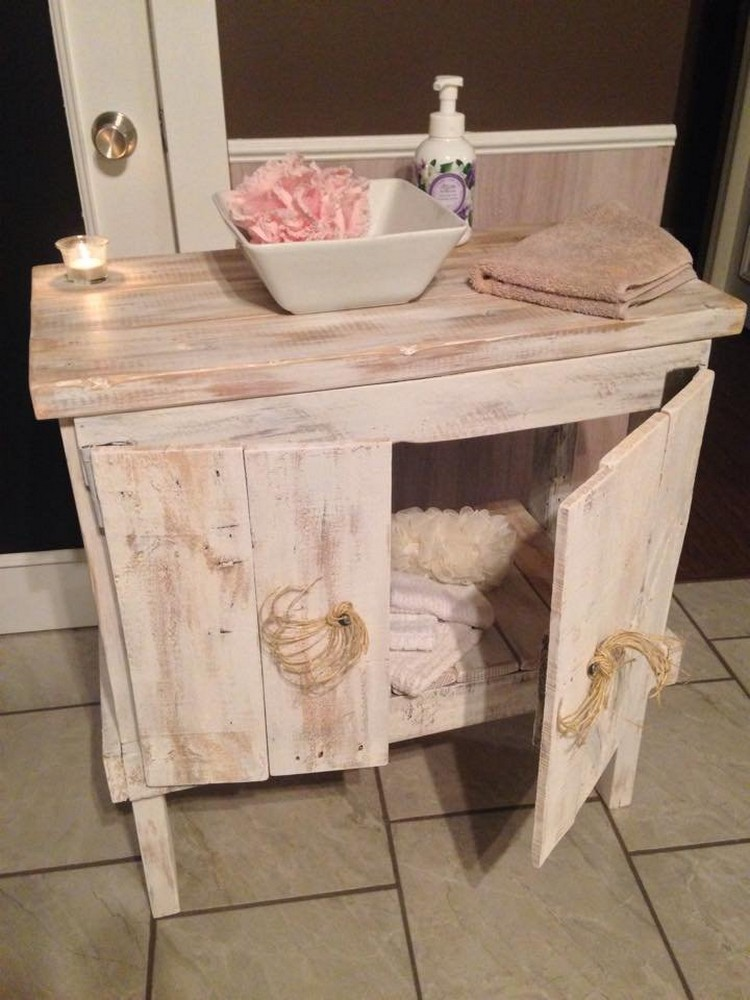 Using old pallets for bathroom pallet wood projects Wooden bathroom furniture cabinets