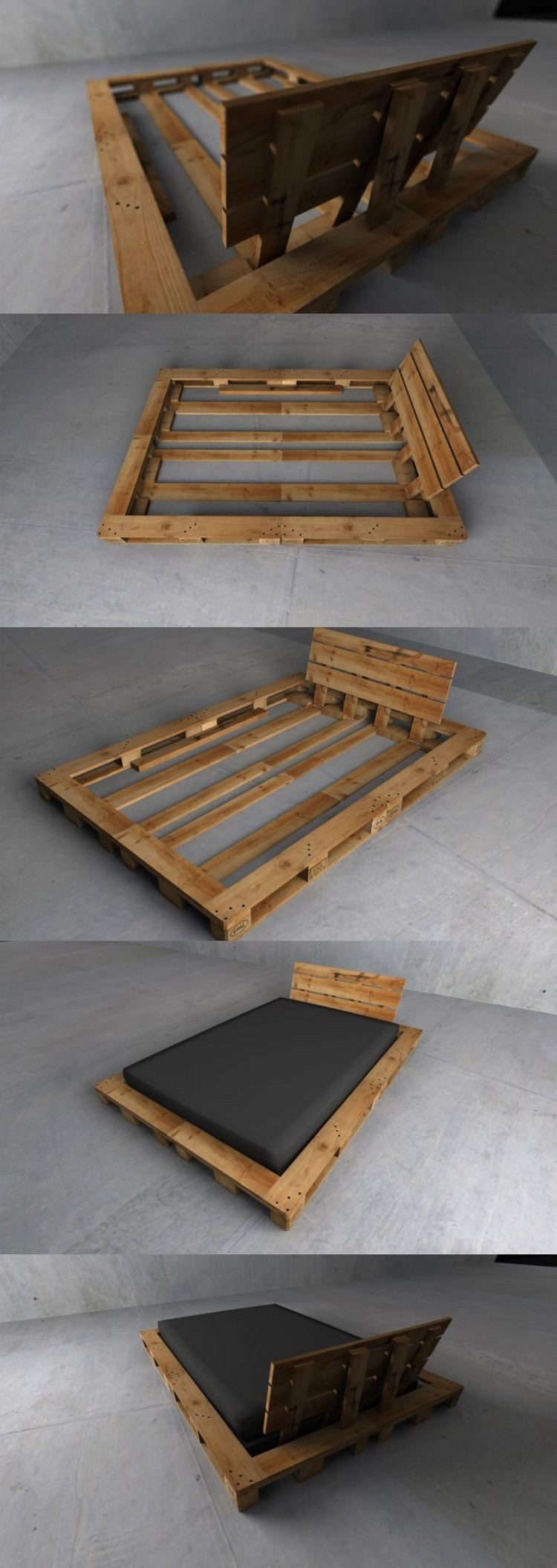 recycled wood pallet bed ideas pallet wood projects. Black Bedroom Furniture Sets. Home Design Ideas