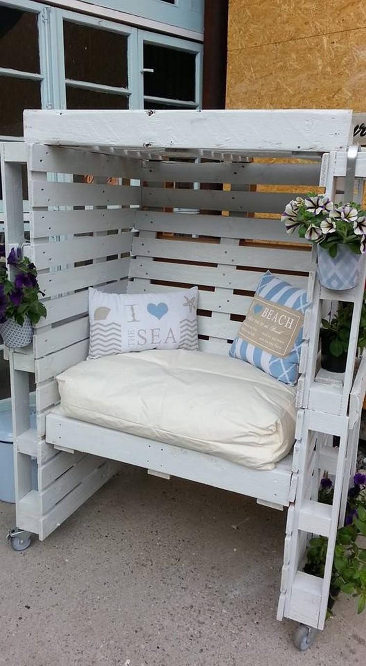 Pallet patio swing - Pallet Pergola Seat