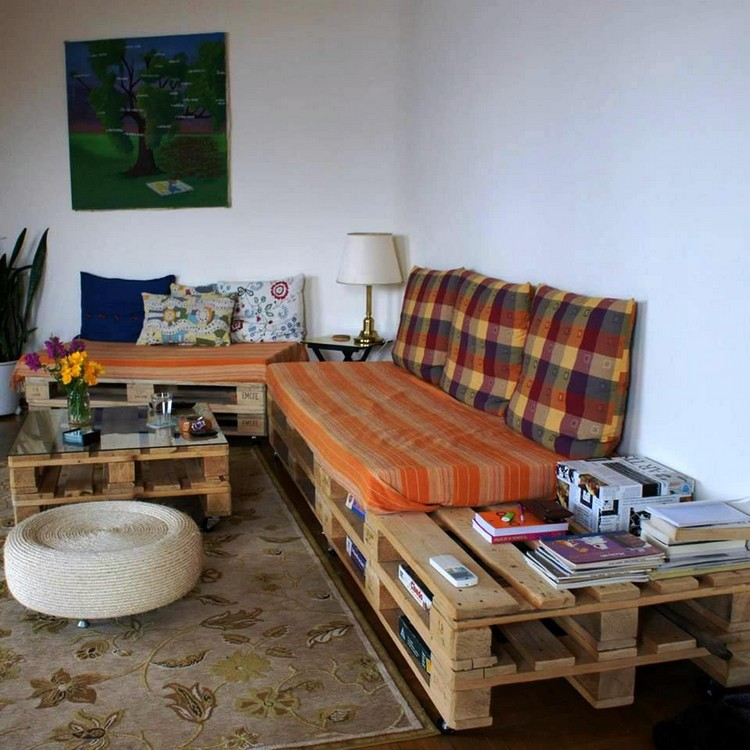 Pallet Sectional Sofa with Built in Storage