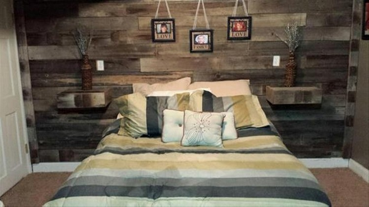 Pallet Wall Headboard with Shelves