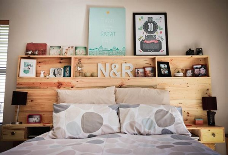 Pallet Wooden Headboard with Shelves