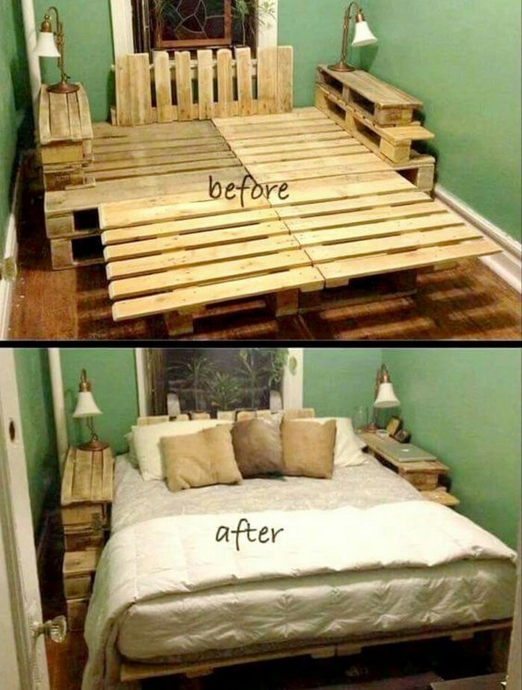Recycled wood pallet bed ideas pallet wood projects for Pallet furniture projects