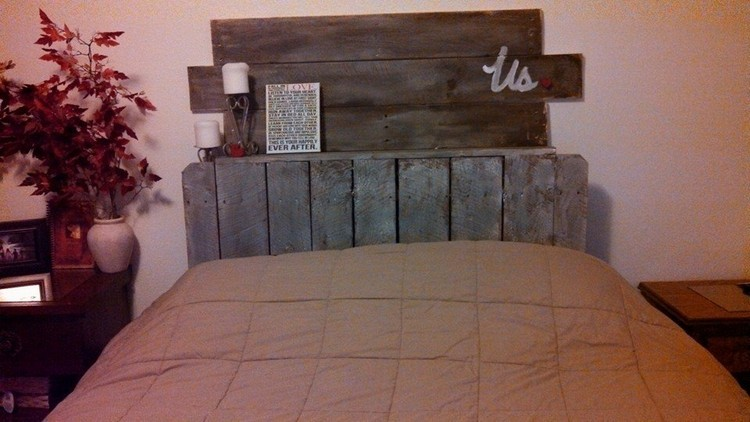 Upcycled Pallet Headboard with Shelves