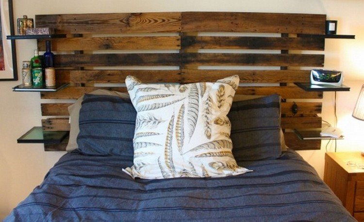 Wood Pallet Headboard with Shelves