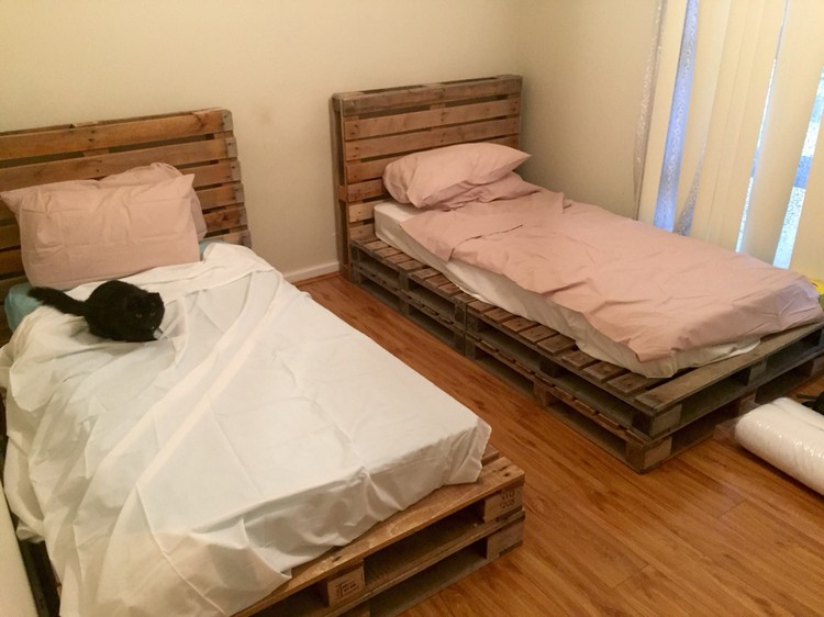 It is furnished pallet wood bed which is so elegant in design and ...