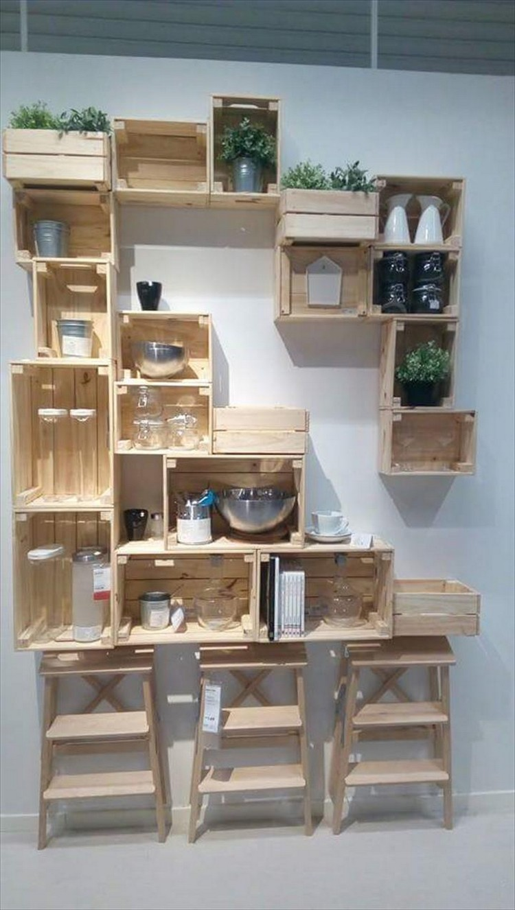 Pallet Crate Shelving Idea