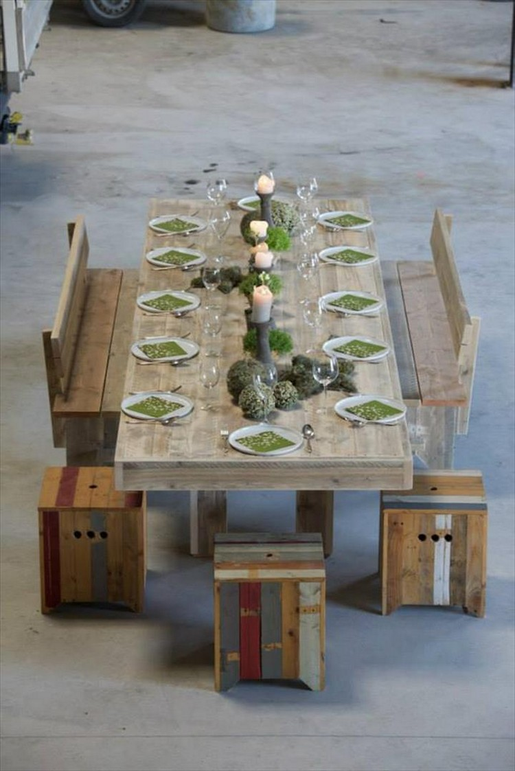 Pallet Dining Table with Benches and Stools