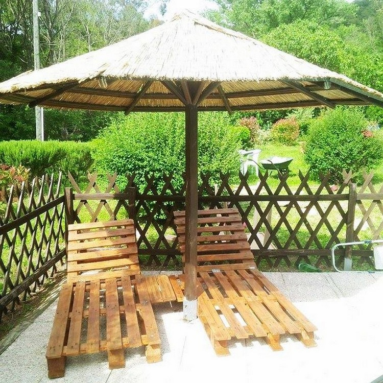Wood Pallet Loungers Under Gazebo