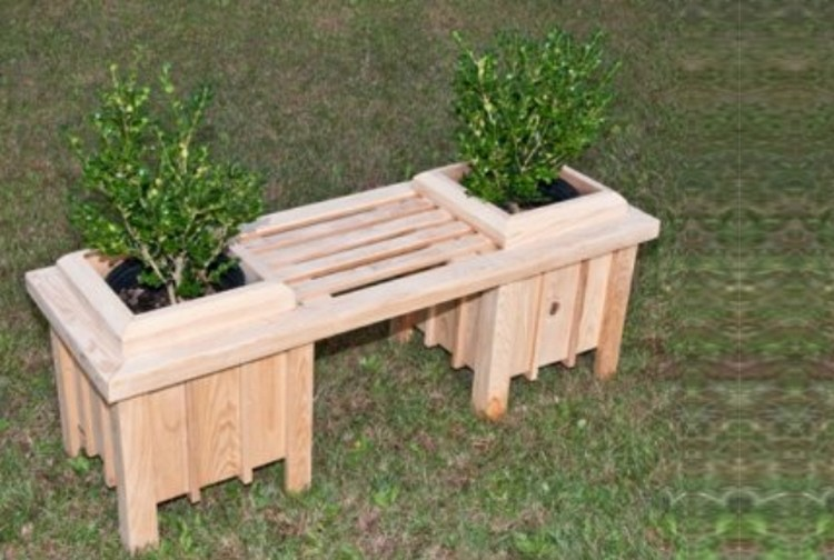 Wooden Pallet Bench with Planters
