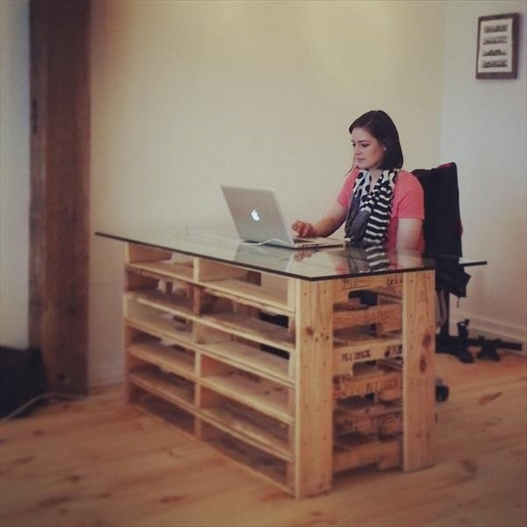 Pallet Computer Desk with Glass Top