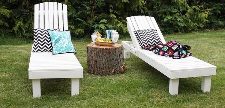 Amazing wood pallet garden furniture ideas pallet wood for Adirondack chaise lounge plans
