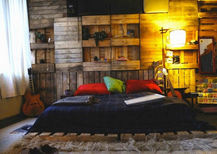 Pallet Wall with Shelves