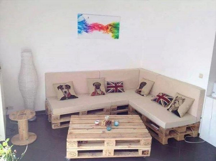 Cushioned Pallet Sectional Sofa