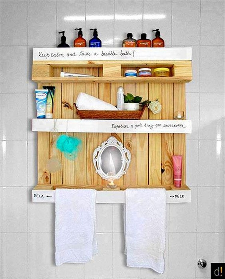 Shelves made with recycled wood pallets pallet wood projects for Pallet bathroom ideas