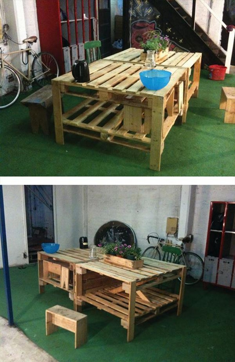 Pallet Potting Bench + Pallet Table