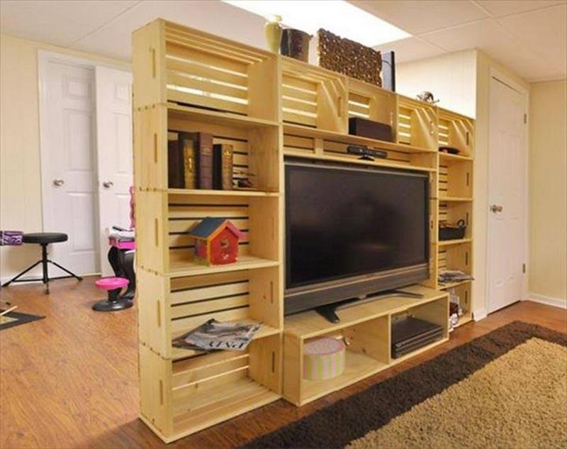 Pallet Wall Shelves and Media Storage