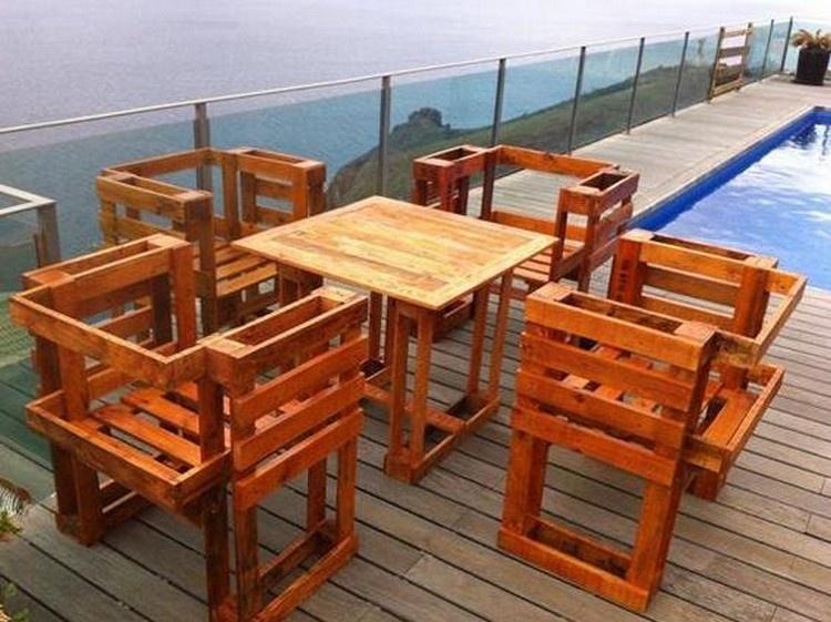 Creative diy outdoor pallet furniture ideas pallet wood for Wooden pallet garden furniture