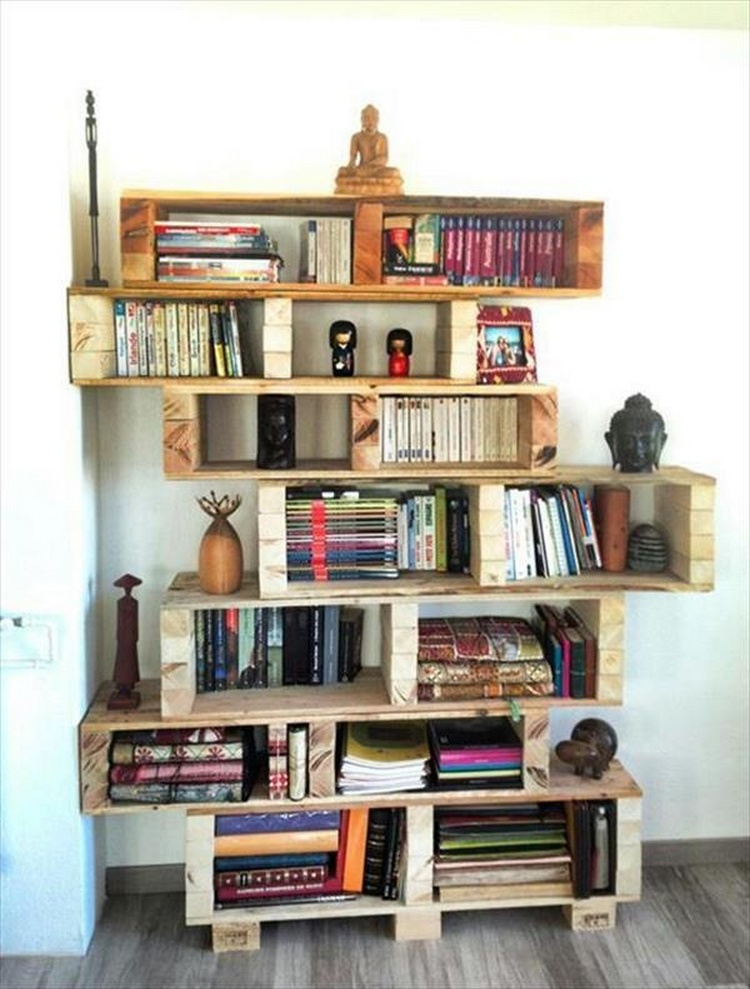 Shelves made with recycled wood pallets pallet wood projects - Estanterias de palet ...