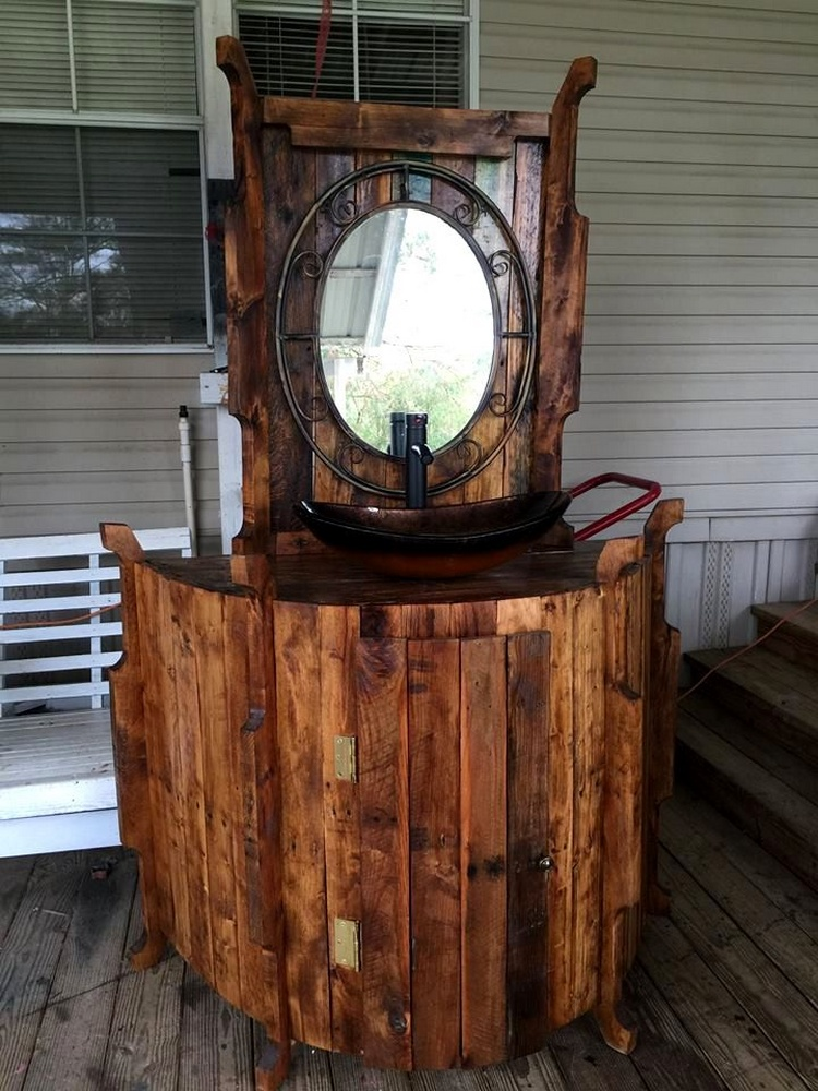 Artful Antique Pallet Bathroom Vanity