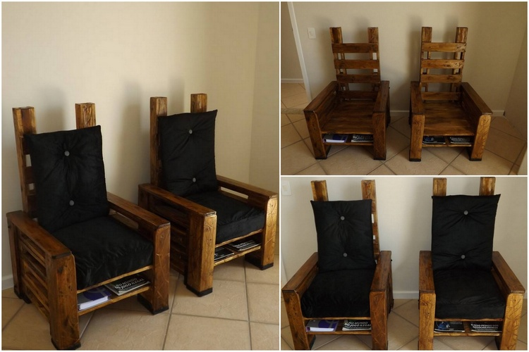 Black Cushioned Pallet Chairs