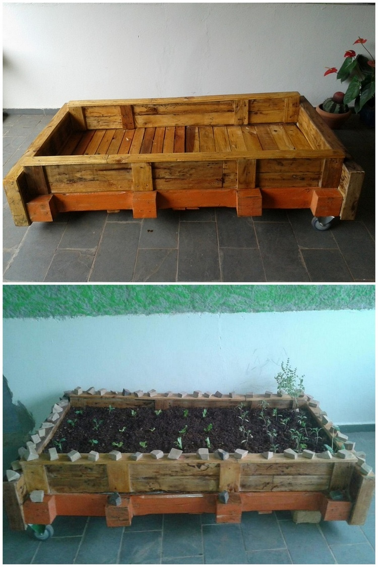 Pallet Herb Garden with Tires
