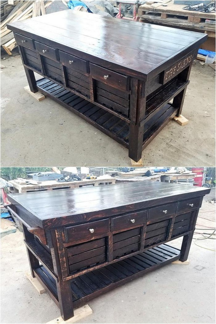 Pallet Kitchen Island with Drawers
